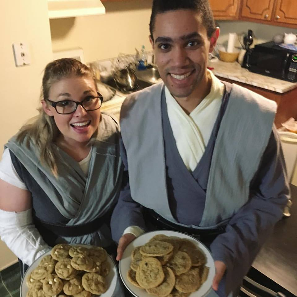 author updates wearing jedi costumes and holding cookiesvia wit and travesty
